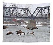 Geese In Flight Tapestry