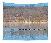 Geese In The Schuylkill River Tapestry