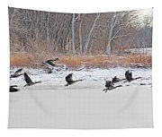 Geese Take Flight Over The Maumee River Tapestry
