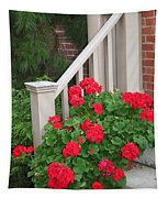 Geraniums On The Steps Tapestry