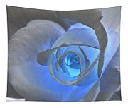 Glowing Blue Rose Tapestry