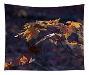 Glowing Maple Leaves Tapestry