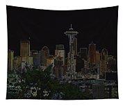 Glowing Seattle Skyline Tapestry