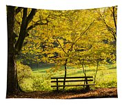 Golden October - Bench And Yellow Trees In Fall Tapestry