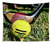 Golf - Tee Time With A 3 Iron Tapestry