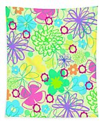 Graphic Flowers Tapestry
