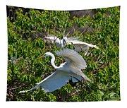 Great Egret In Flight Tapestry