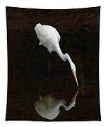 Great Egret Reflection Tapestry