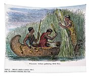 Great Lakes: Canoe, 19th C Tapestry