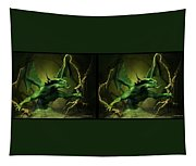 Green Dragon - Gently Cross Your Eyes And Focus On The Middle Image Tapestry