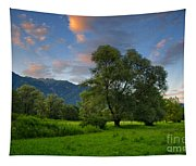 Green Field With Trees Tapestry