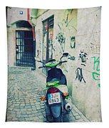 Green Vespa In Prague Tapestry
