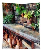 Greenhouse With Flowerpots Tapestry