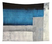 Straight Forward - Teal And Grey Abstract Art Painting Tapestry