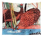 Guinea Fowl Drinking Tapestry
