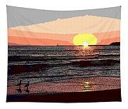 Gulls Enjoying Beach At Sunset Tapestry