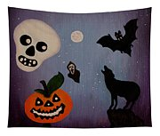 Halloween Night Original Acrylic Painting Placemat Tapestry