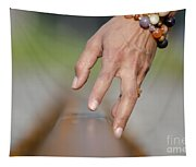 Hand Touching A Railroad Track Tapestry