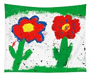 Happy Colorful Flowers Tapestry