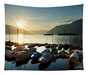 Harbor In Sunrise Tapestry