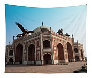 Hawk Flying Next To Humayun Tomb Delhi Tapestry