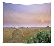 Hay Bales And Sunrise In Fog Tapestry
