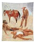 He Lay Where He Had Been Jerked Still As A Log  Tapestry by Frederic Remington