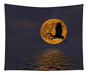 Heron And The Harvest Moon Tapestry