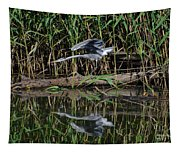 Heron Reflected In The Water Tapestry