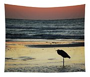 Heron Waiting For The Sunrise Tapestry