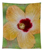 Hibiscus Gold And Red Tapestry