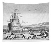 Hindu Sacrifice, 1837. /ndevotees In India Sacrifice Themselves To The Idol Juggernaut. Line Engraving, 1837 Tapestry