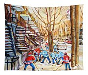 Hockey Game Near Winding Staircases Tapestry