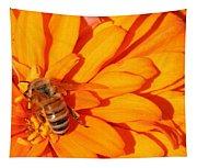 Honeybee On An Orange Zinnia Tapestry