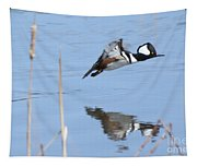 Hooded Merganser Flying Tapestry