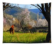Horse At Field Tapestry