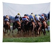 Horse Racing Rear View Of Horses Racing Tapestry