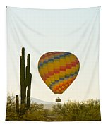 Hot Air Balloon In The Arizona Desert With Giant Saguaro Cactus Tapestry