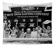 Hotdog Eating Contest Time In Black And White Tapestry