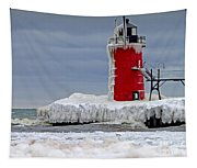 Icy South Haven Mi Lighthouse Tapestry