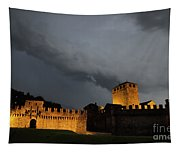 Illuminated Castle At Night Tapestry