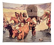 Indians Attacking A Pioneer Wagon Train Tapestry