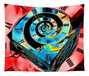 Infinity Time Cube Blue On Red Tapestry