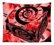 Infinity Time Cube Red Tapestry
