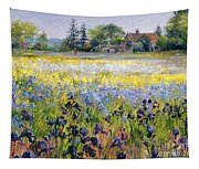 Irises And Two Fir Trees Tapestry