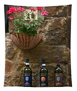 Italian Wine And Flowers Tapestry