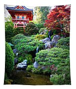 Japanese Garden With Pagoda And Pond Tapestry