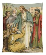 Jesus And The Blind Men Tapestry