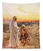 Jesus Withe The One Leper Who Returned To Give Thanks Tapestry