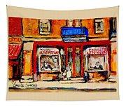 Jewish Montreal Vintage City Scenes De Bullion Street Cobbler Tapestry